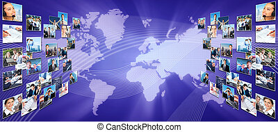 collage., gestion réseau, business