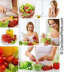 collage., gesundes essen, frische gemüse, vegetarier, menükarte