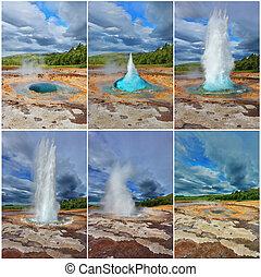 collage, geyser, -, scheda