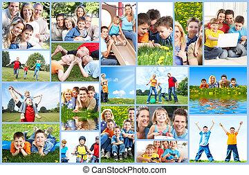 collage., gezin, vrolijke