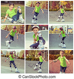 collage girl on roller skates