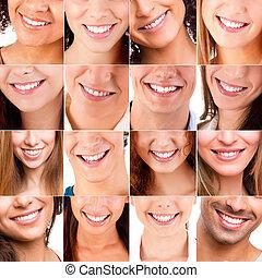 collage, glimlachen, anders