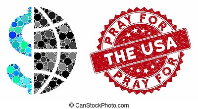 Collage Global Business with Scratched Pray for the USA Seal