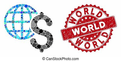 Collage Global Economics with Textured World Seal