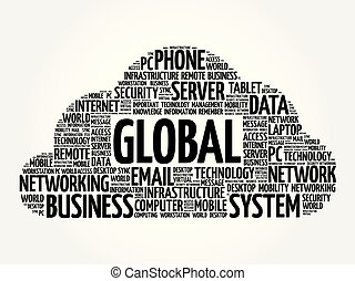 collage, global, mot, nuage