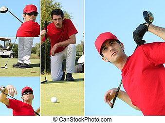 collage, golf, jouer, homme