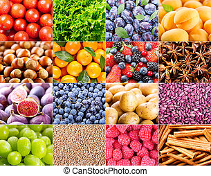 collage, grönsaken, frukt, olika