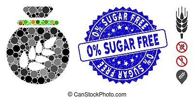 Collage Grain Harvest Sack Icon with Grunge 0% Sugar Free Seal