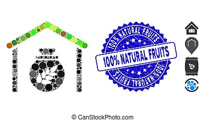 Collage Grain Storage Icon with Scratched 100% Natural Fruits Stamp