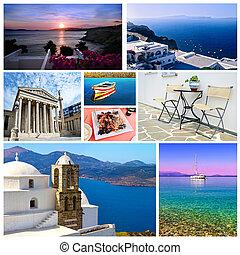 collage, grec, été, photos
