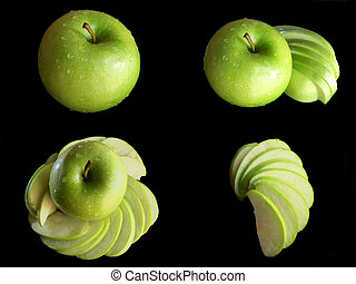 Collage green apple isolated on a black background