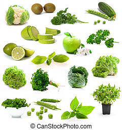 green vegetables and fruits on white background