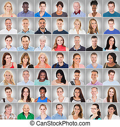 collage, grijze achtergrond, mensen