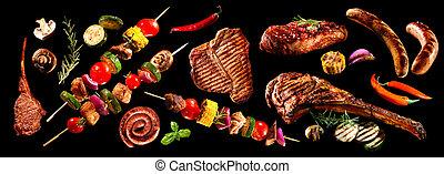 collage, grillere grønsager, adskillige, kød