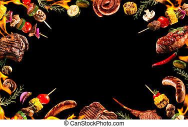 collage, grillte gemüse, verschieden, fleisch