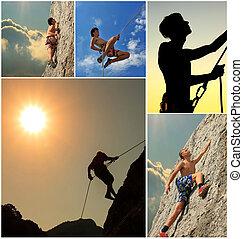 collage, grimpeurs, rocher