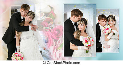 Collage - groom and bride in their wedding day