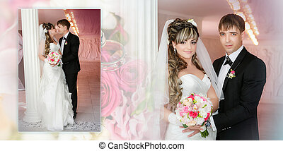 Collage - groom and the bride with a wedding bouquet stand near a white column
