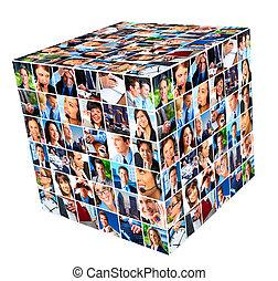 collage., grupa, handlowy zaludniają