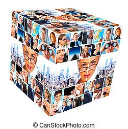 collage., grupo, pessoas negócio