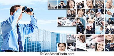 collage., grupp, affärsfolk