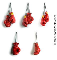 collage, guantes de boxeo