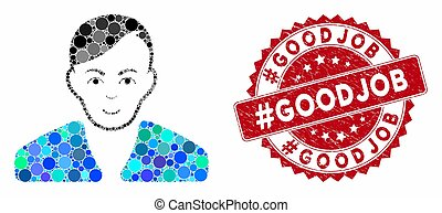Collage Guy with Scratched #Goodjob Stamp