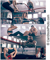 collage, gym., sur, exercices, fitness