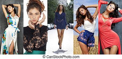 collage, haar, model