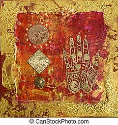 collage, hand, kunstwerk