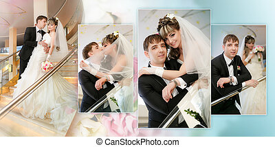 Collage - Happy bride and groom on ladder at hotel