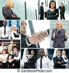 collage, hecho, de, algunos, empresa / negocio, cuadros