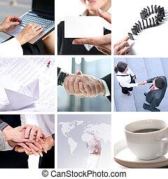 collage, hecho, de, empresa / negocio, cuadros