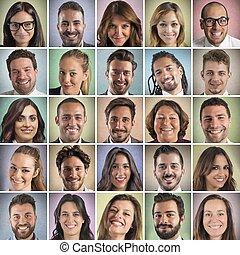 collage, het glimlachen, kleurrijke, gezichten