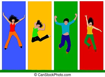 collage, heureux, gens