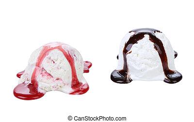 collage, hielo, chocolate, syrop., rojo, crema