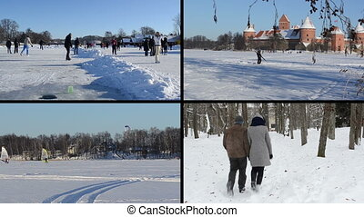 collage, hiver, loisir