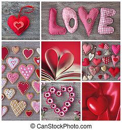 collage, hjärtan