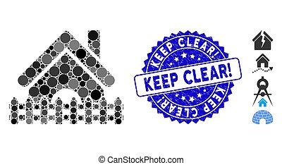 Collage Home Fence Icon with Grunge Keep Clear! Seal