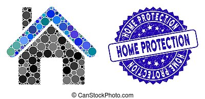 Collage Home Icon with Textured Home Protection Stamp