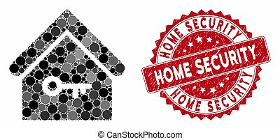 Collage Home Key with Grunge Home Security Stamp