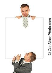collage, hommes affaires, planche, deux