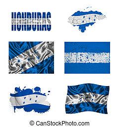 collage, hondureño, bandera