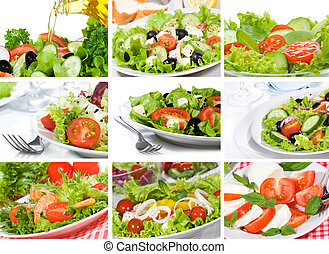 collage, hos, salat