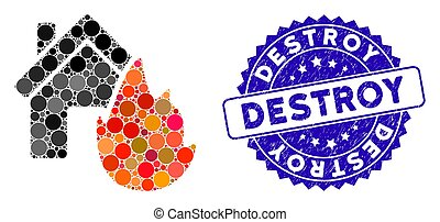 Collage House Fire Disaster Icon with Grunge Destroy Stamp