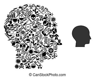 Collage Human Head from Health Icons