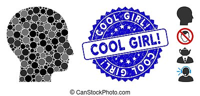 Collage Human Head Icon with Grunge Cool Girl! Stamp - ...