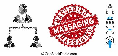 Collage Human Hierarchy Icon with Textured Massaging Stamp