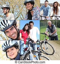collage, hun, fietsen, paardrijden, mensen