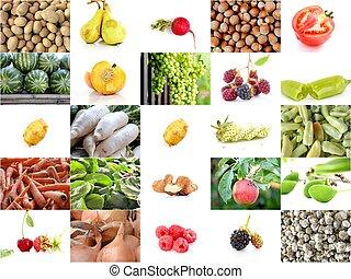 collage, i, en, adskillige, frugter grønsager